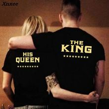 Plus Size Women Short Sleeve Tops Female Summer King Queen Letter Pinted Casual T Shirt Black Couples Tee Shirts Family Tshirt