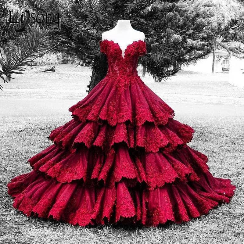 Gorgeous Wine Red Lace Dubai Wedding Dresses 2018 Ruffles