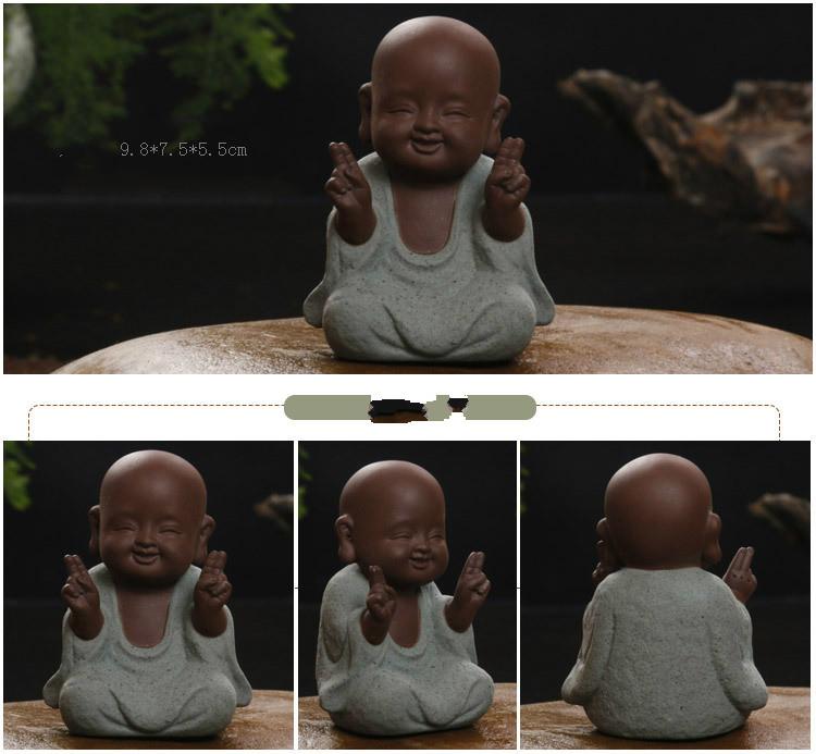 HTB11FhIayzxK1Rjy1zkq6yHrVXaO - Buddha Statues Small Monk Color Sand Ceramic Home Club Geomantic Decoration Purple  Figurine Tea Pet