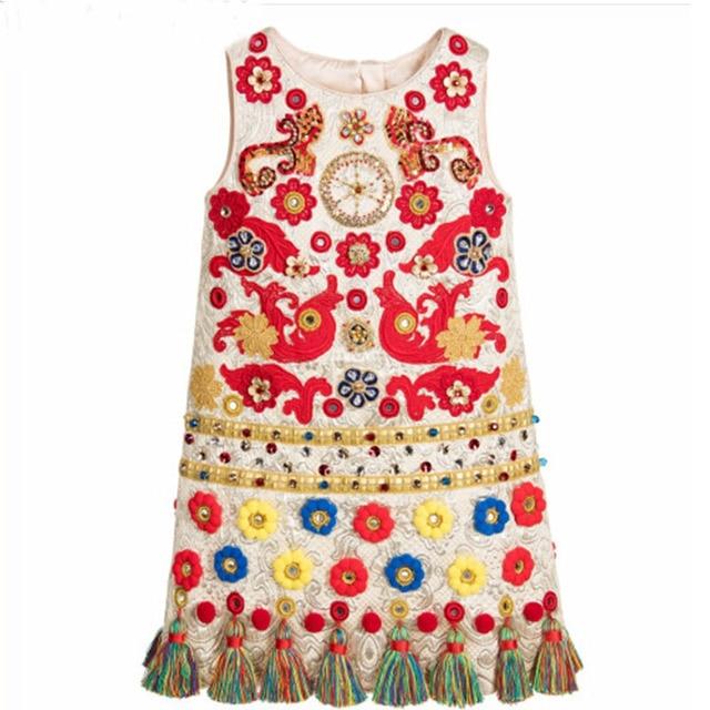 Милан творения детей платья для девочек одежда 2015 с длинным рукавом девушки платье принцессы костюм леопард рождество платье