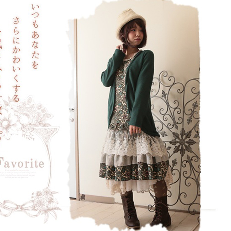 1 Floral Two Ruffle Girl Multi color Autumn Piece Harajuku D007 Full Lace Color Fake Dress 2 Women's Layer Pleated Mori Patchwork Sleeved 07zzxnqH