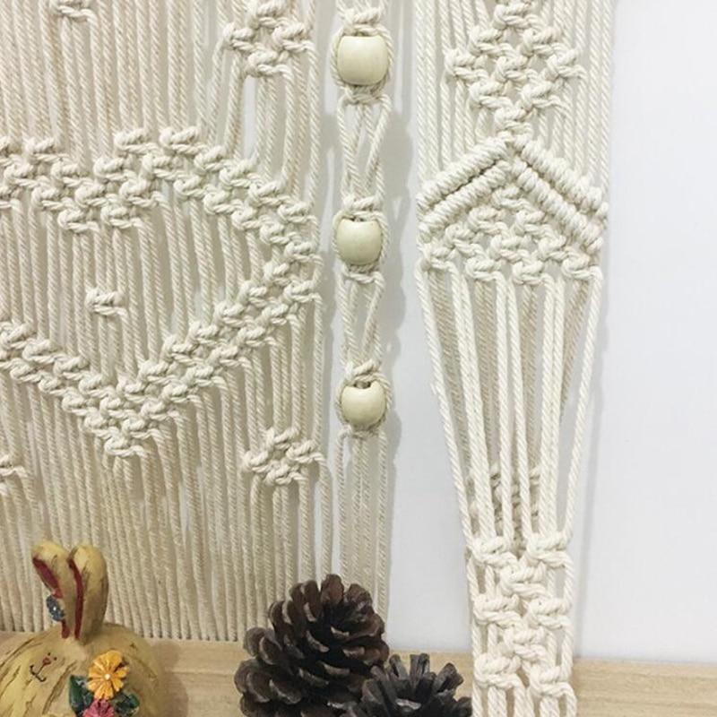 Tassel Tapestry Wall Hangings Hand-Woven Wall Decoration Bohemian Hand-Woven Line Tassels Tapestries Bedroom Wall Shelf Racks