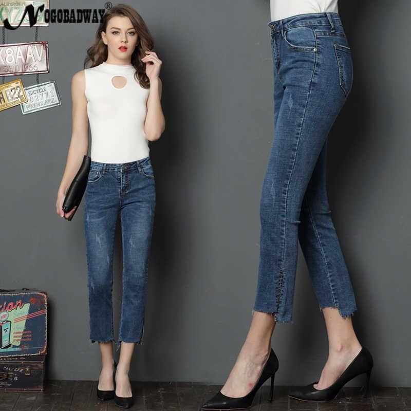 d316c449517e95 ... Calf-length vintage women jeans summer 2018 casual fashion denim flare  pants slim skinny ladies ...