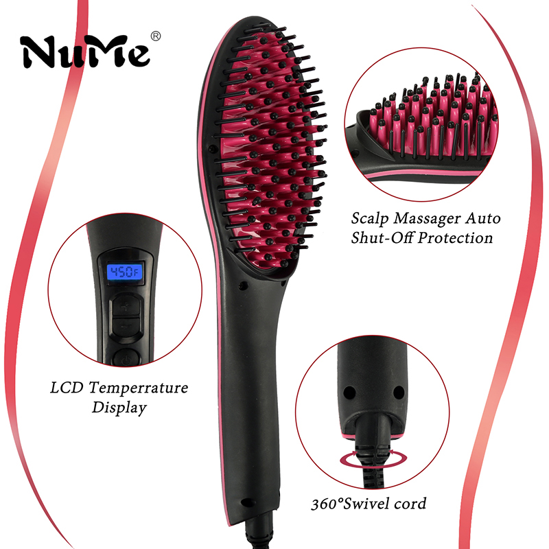 NuMe Electric Comb Ceramic Hair Straightening Irons 450F Digital Hair Straightener Brush LCD Display Fast Heating up Hair Brush все цены