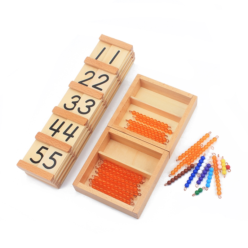Montessori Teaching Math Toys Teens and Tens Seguin Board with Beads Bars Wood Toys Early Childhood Education Preschool Training все цены