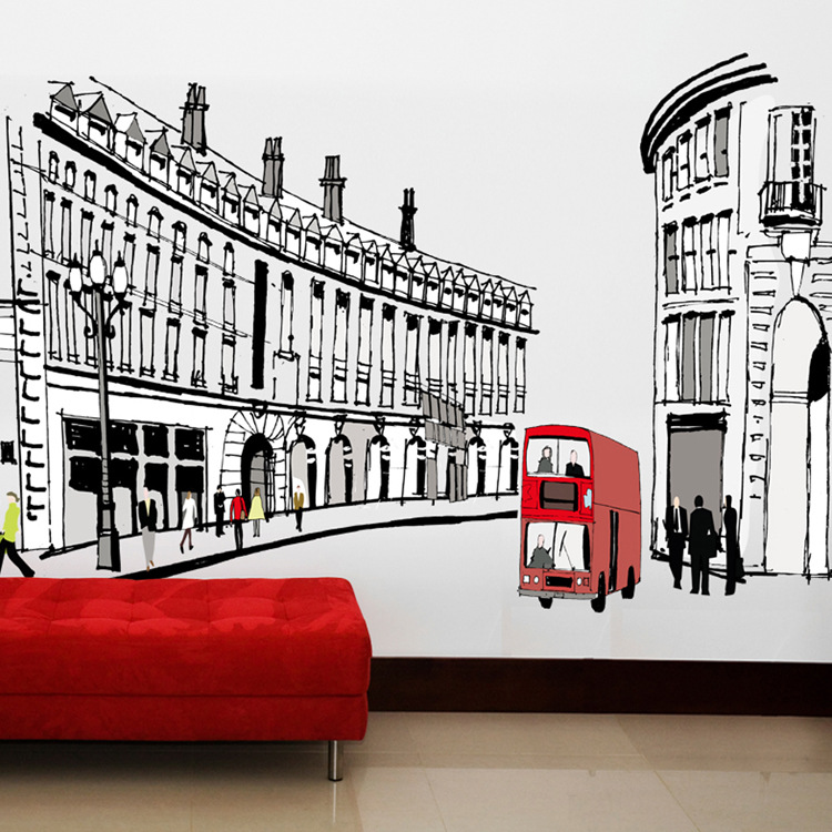 Diy Modern Rome Street Wall Sticks Building Art Bedroom Living Room Urban Decal Decoration Home