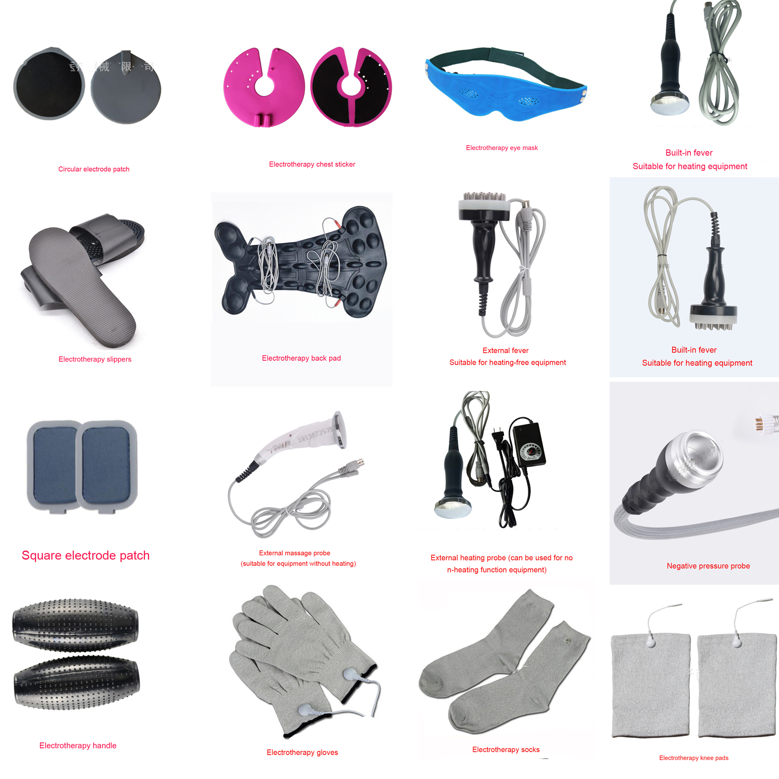 DDS Massage Apparatus Accessories Massage Probe Meridian Brush Back Plate Gloves Slippers Chest
