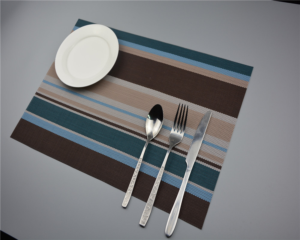 2pcs/Lot New PVC Placemat striped tessforest Western-style food pad Hotel mat factory direct Western-style food JI 0810