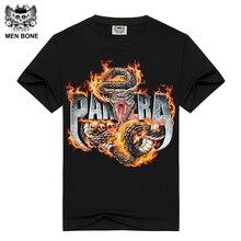 [Men bone] herren kurzarm schwarz t-shirt pantera druck baumwolle t-shirts für männer sommer marke clothing power metall