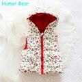 Humor bear hot sale meninas flores de algodão colete meninas bonito colete bebê colete crianças colete meninas casaco