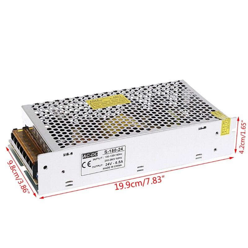 AC 100-260V To DC 24V 6.5A 150W Switch Power Supply Driver Adapter LED Strip Light W315 ac 85v 265v to 20 38v 600ma power supply driver adapter for led light lamp