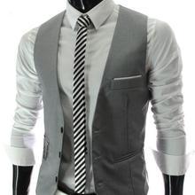 Лидер продаж, Новое поступление, весенний деловой мужской костюм, жилет с металлической цепочкой, v-образный вырез, приталенный модный мужской жилет, мужской повседневный Блейзер, жилет