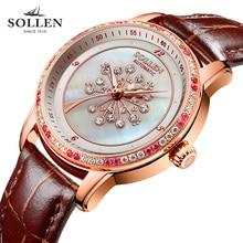 luxury brand watches women best gift automatic mechanical Romantic dandelion diamond sapphire Italian calfskin wristwatch clock