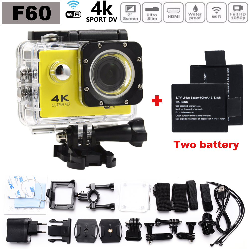 4K Ultra HD go pro Style Camera F60 WiFi Sport extreme Diving Helmet Action Cam 2 inch Screen 30M Waterproof Add Two battery
