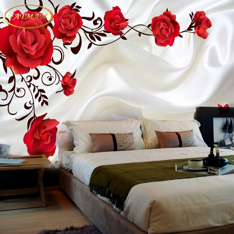 Photo wallpaper 3d romantic rose vine wallpaper living for 3d rose wallpaper for bedroom