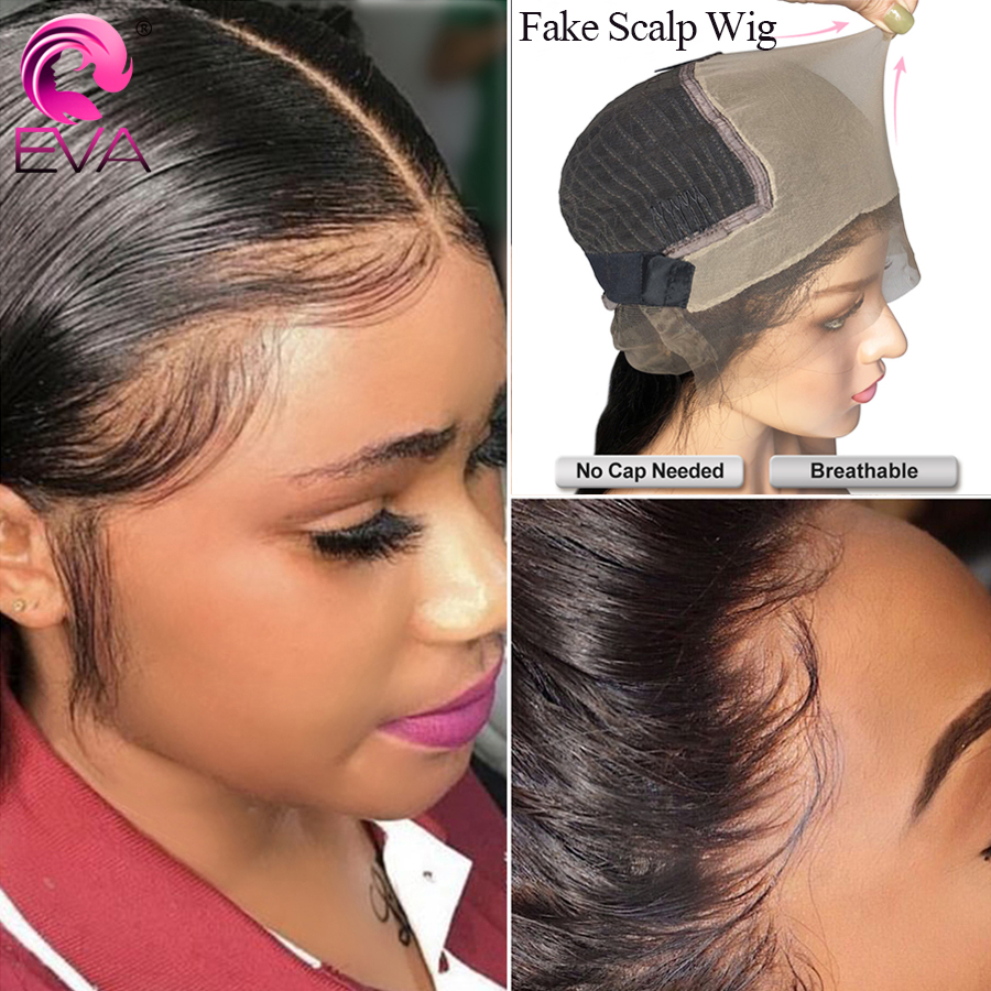 Eva Hair 13x6 Lace Front Human Hair Wigs Pre Plucked With Baby Hair Fake Scalp Wigs