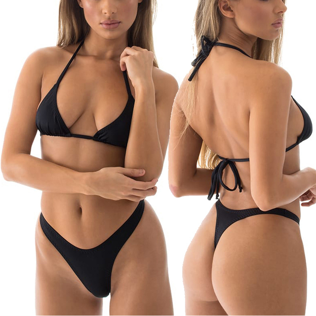 186b997392e Sexy Solid High Cut Thong Bikini Set T Back Bikinis Bottom String Triangle Top  Swimwear Women Bathing Suit Beach Female Swimsuit