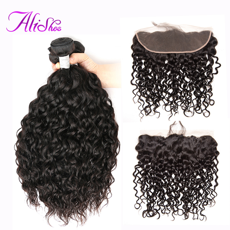 Alishes Hair Brazilian Water Wave 3 Bundles With Frontal Closure Human Hair 13 4 Lace Frontal