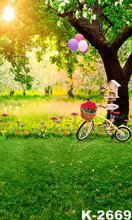 WELCOME Green Garden Photo Backdrops For Children & Adults Casual Cycling With Balloon Photographic Digital Painted Backgrounds