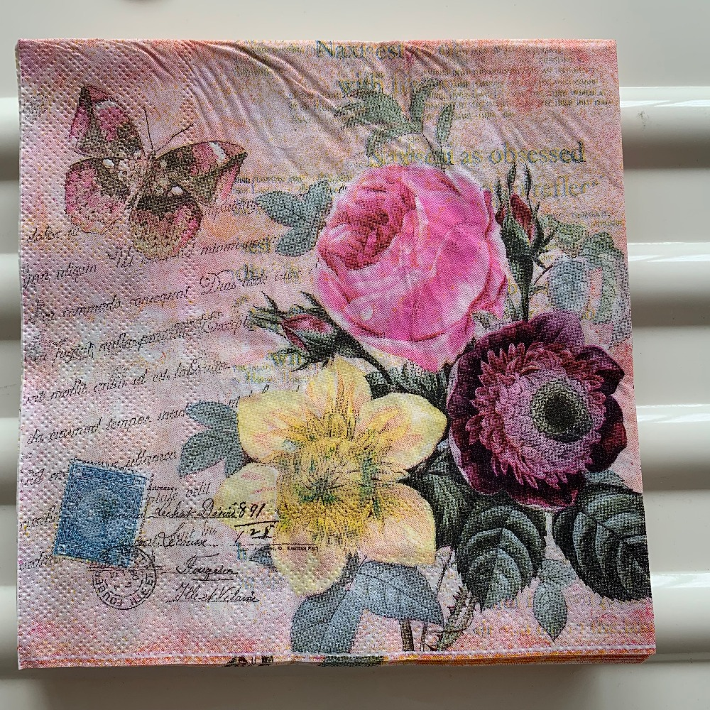 Image 2 - Decoupage table paper napkins elegant tissue vintage towel flower butterfly stamp birthday wedding party home beautiful decor 20-in Disposable Party Tableware from Home & Garden