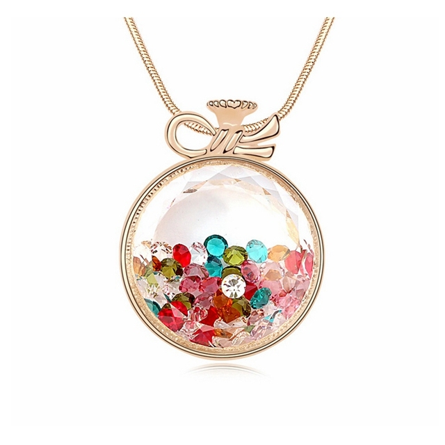 2017 New Necklace Fashion Jewelry Austria Crystal Big Round Pendant Women Necklace Bohemian Necklace 3 Colors Bijoux Accessories