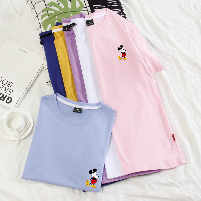 New Mickey Print Tees Mouse T-shirt Men Top Hip Hop Casual Cartoon Tshirt Homme Pure Cotton Women Lovers T Shirt S-4XL 10 Colors