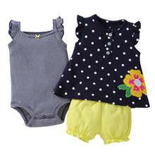 Ensemble de vêtements pour bébés filles, 3 pièces, robe courte, body sans manches et couche-culotte