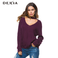 DEXIA Winter Sweater Women V neck Fashion Long Sleeve Pullover Female Solid Color Autumn Hollow Out Winter Casual Jumper ZJ020