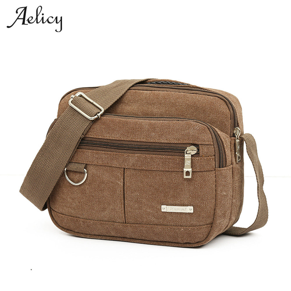 купить Aelicy Men Canvas Bag Brand 2018 Multifunction Casual Travel Crossbody Bags Vintage Solid Zipper Men Messenger Handle Bags по цене 400.51 рублей
