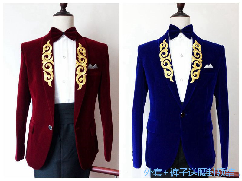 Men's embroidered shawl collar features show clothing male singer stage host male dress suit-in Suits from Men's Clothing    1