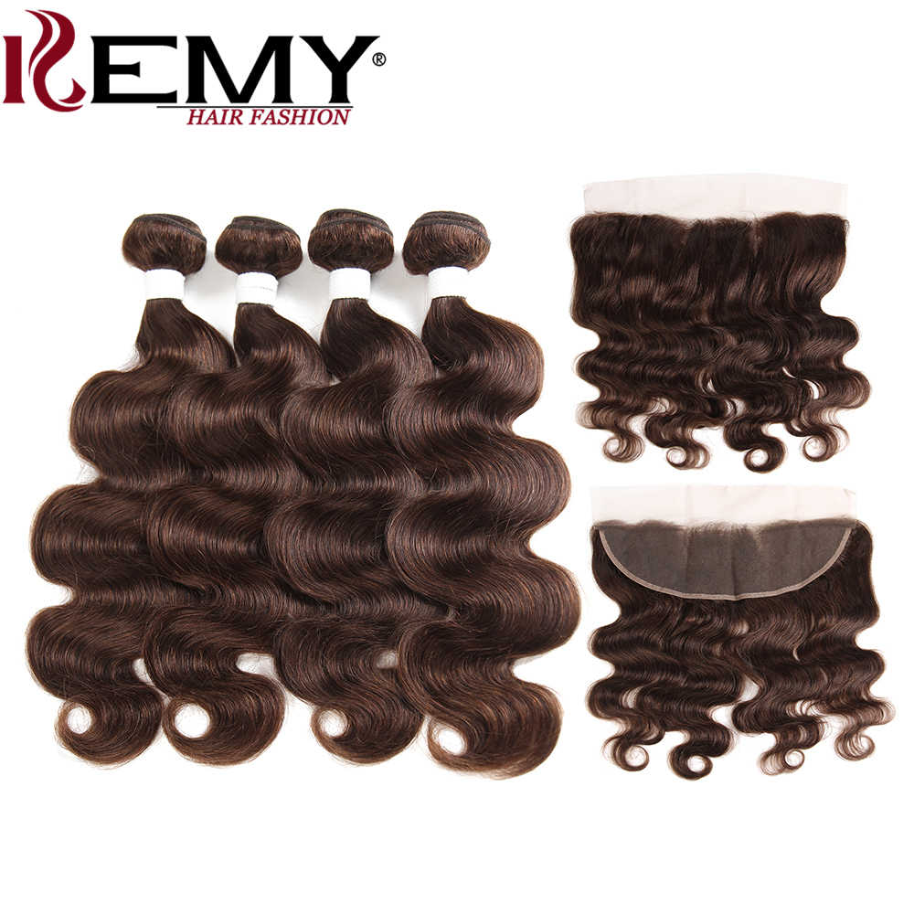 Средние коричневые объемные волнистые человеческие волосы пучки с фронтальной 13*4 kemy Hair бразильские не Реми волосы человеческие волосы переплетения пучки 3/4 шт волос