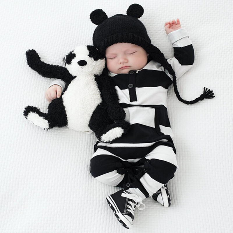 0-2 Year Old Striped Jumpsuit Black And White Striped Jumpsuit Pocket Jumpsuit
