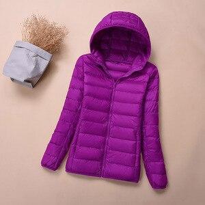 Image 5 - フード付きダウンジャケット冬の女性の暖かいコートパーカー女性超軽量薄型ダウンジャケット長袖ポータブル生き抜く 2020 6XL