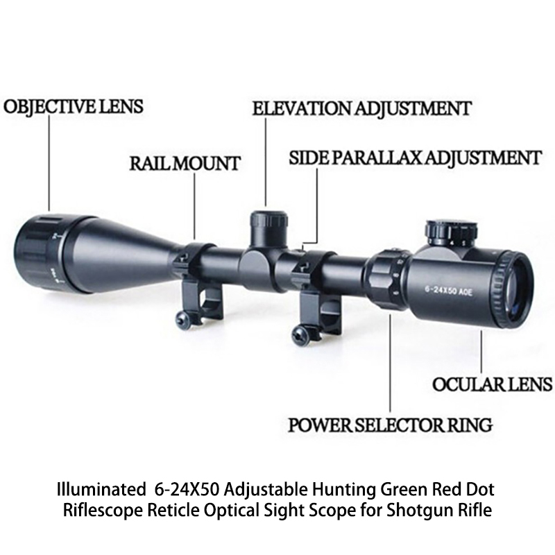 Illuminated  6-24X50 Adjustable Hunting Green Red Dot Riflescope Reticle Optical Sight Scope for Shotgun Riflescopes