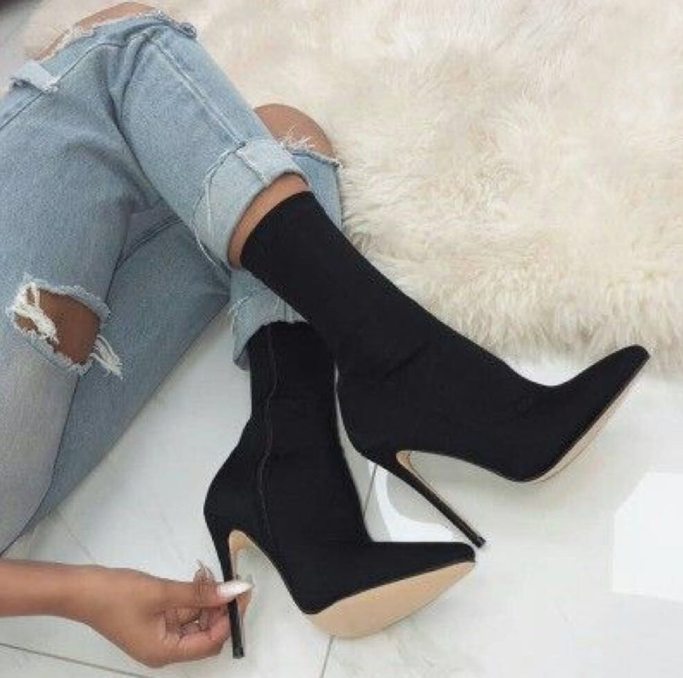 Fashion Pointed Toe Stretch Fabric Women Boots Thin High Heel Ladies Sexy Night club Black Sock Boots women sexy prom night club black