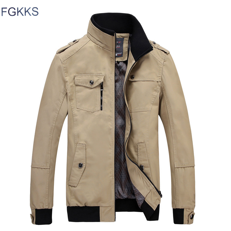 FGKKS Brand Men Casual Jacket Fashion Army Jacket Men Coats New Autumn Slim Fit Male Outerwear Jackets Overcoat-in Jackets from Men's Clothing on AliExpress - 11.11_Double 11_Singles' Day 1