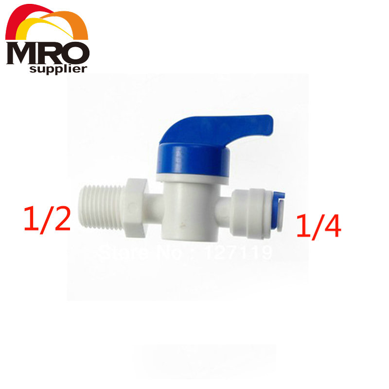 2 Pcs Equal Straight 1/2Male-1/4 Tube Ball Valve Swicth Quick Connection RO Water Aquarium Osmosis System ST025 B