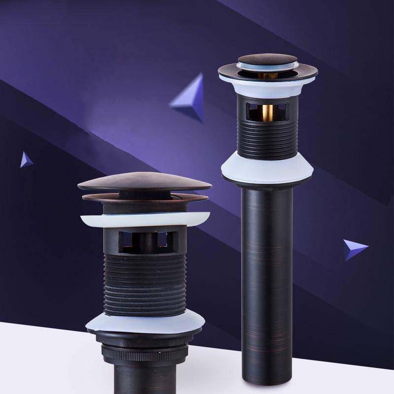 Drains Bathroom Parts Brass Black Lavatory Vessel Vanity Sink Pop Up Drain Stopper With Overflow Faucet Accessories HJ-0618H