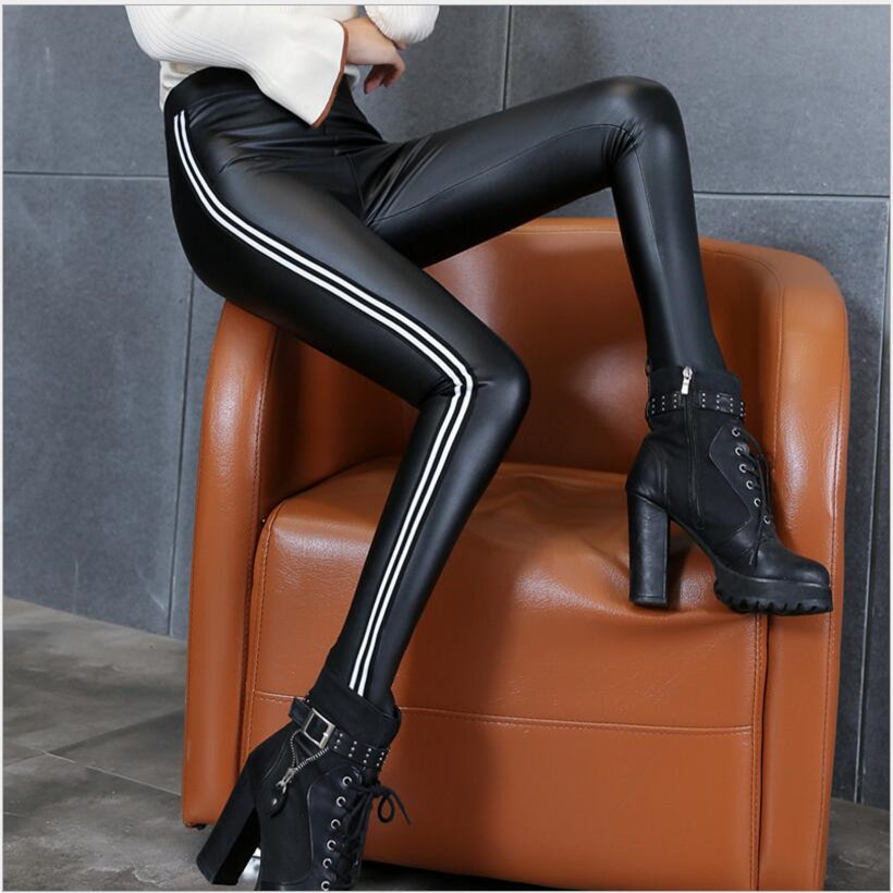 Womens Pu Leather Pants High Elastic Waist Leggings Not Striped Crack Slim Leather Leggings Fleece Trousers Women Fashion