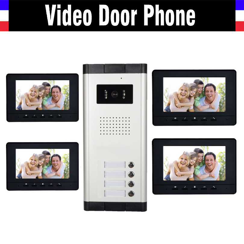 4 Units Apartment Video Intercom System 7 Inch Monitor Video Door Phone Intercom System Wired Home Video Doorbell kit