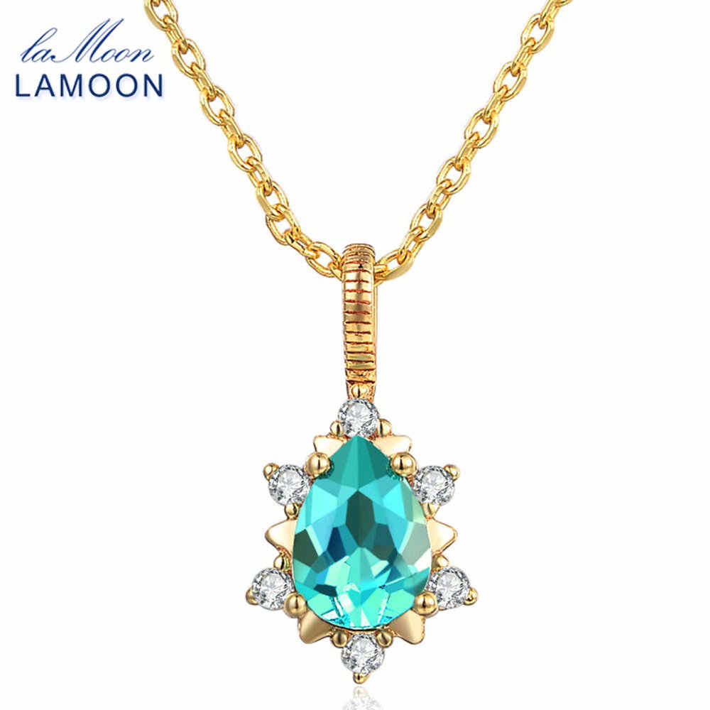 LAMOON- 5x7mm 1ct 100% Natural Apatite 925 Sterling Silver Jewelry  Chain Pendant Necklace WTDP LMNI023