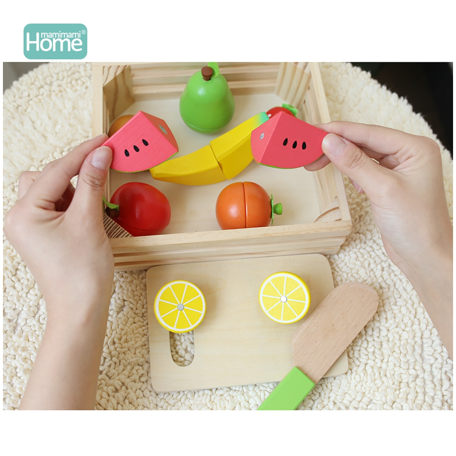 MamimamiHome Baby Montessori Wooden Toy Fruit Kitchen Cutting Safe Toys Early Development And Education Toy for Baby Gifts Block