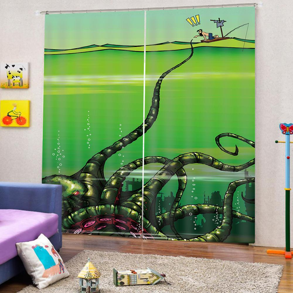 Creative seabed Window Curtains For Living room bedroom blackout home curtains home decorCreative seabed Window Curtains For Living room bedroom blackout home curtains home decor
