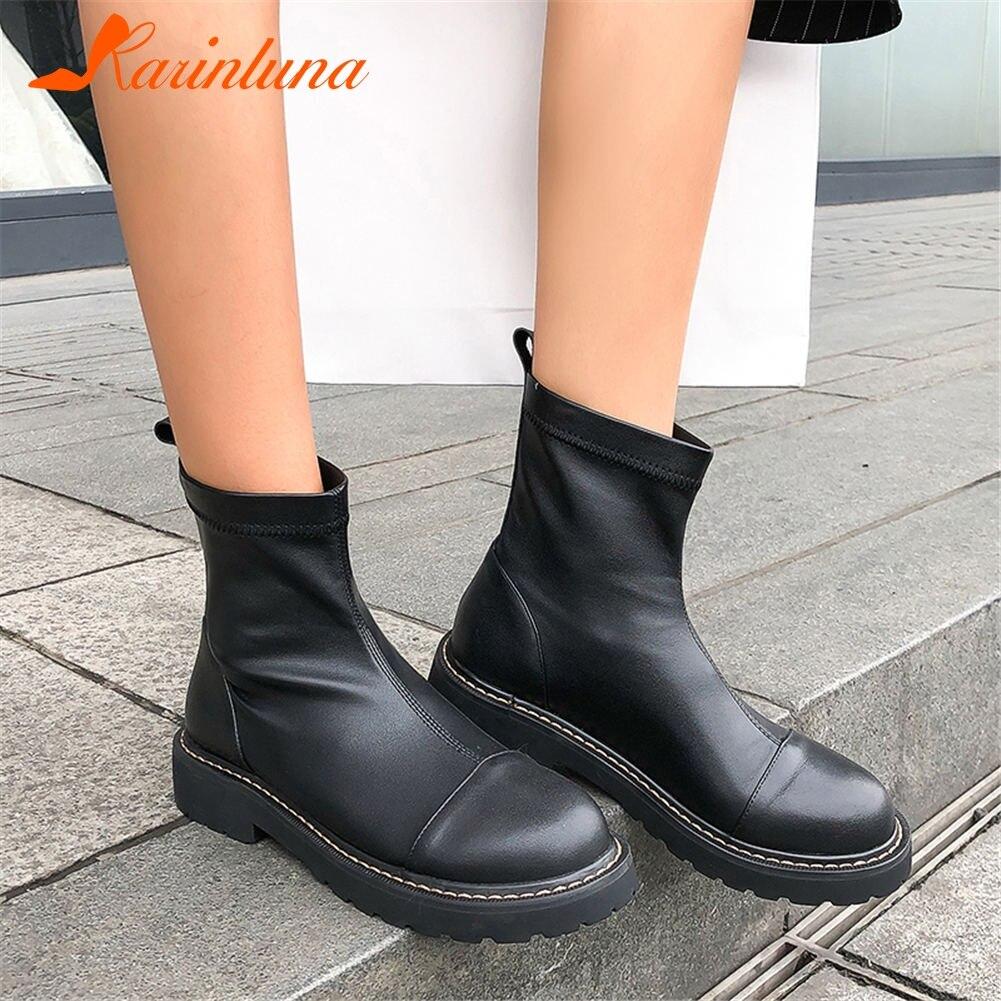 KARINLUNA mode marque design top qualité grande taille 42 véritable cuir chunky talons bottes femme chaussures femmes chaussures décontractées bottes