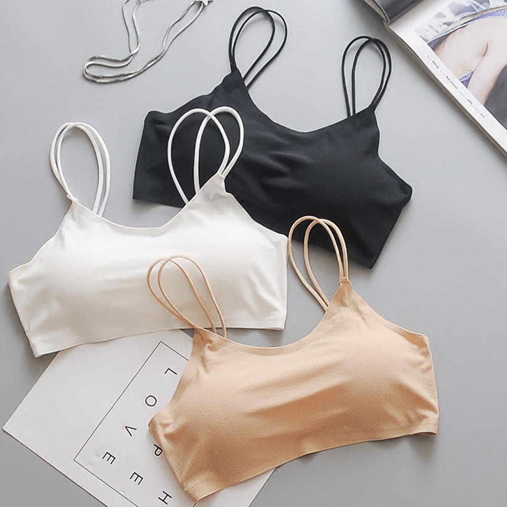 Ice silk anti-glare tube top wrapped chest bra  Women Sexy Bra Top Vest Breathable Chest Pad Wearing Sports Underwear #2