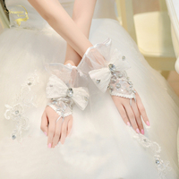 The Bride Wedding Gloves Lace Lucy Refers To Stick Drill Gloves Short Design Bow Gloves G029