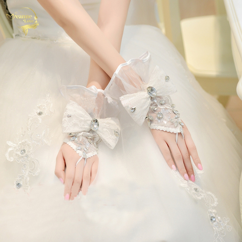 bride wedding gloves lace lucy refers to stick drill gloves short design bow gloves G029