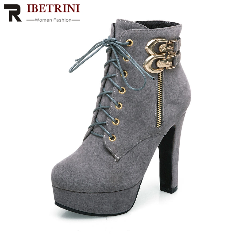 RIBETRINI Women Short Ankle Boots Square High Heel Shoes Woman Lace Up Buckle Footwear Platform Motorcycle Boots Big Size 34-50 women square heel ankle boots woman short fashion winter warm snow boots ladise buckle heels bota footwear p15980 eur size 34 43