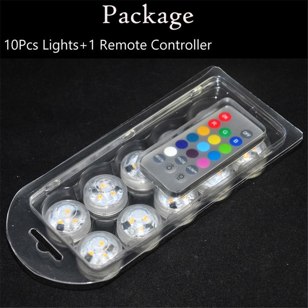 12 komada / Lot Mini Potopna LED svjetla s daljinskim upravljačem s - Rasvjeta za odmor - Foto 6