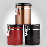 Coffee Canister With Built in Valve Free Stainless Steel Scoop Keeps Flavor Locked With a Valve Bean Container